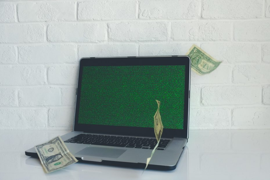 Computer with bank notes