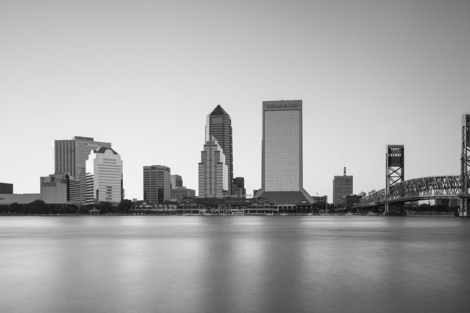 Black and white cityscape from the ocean